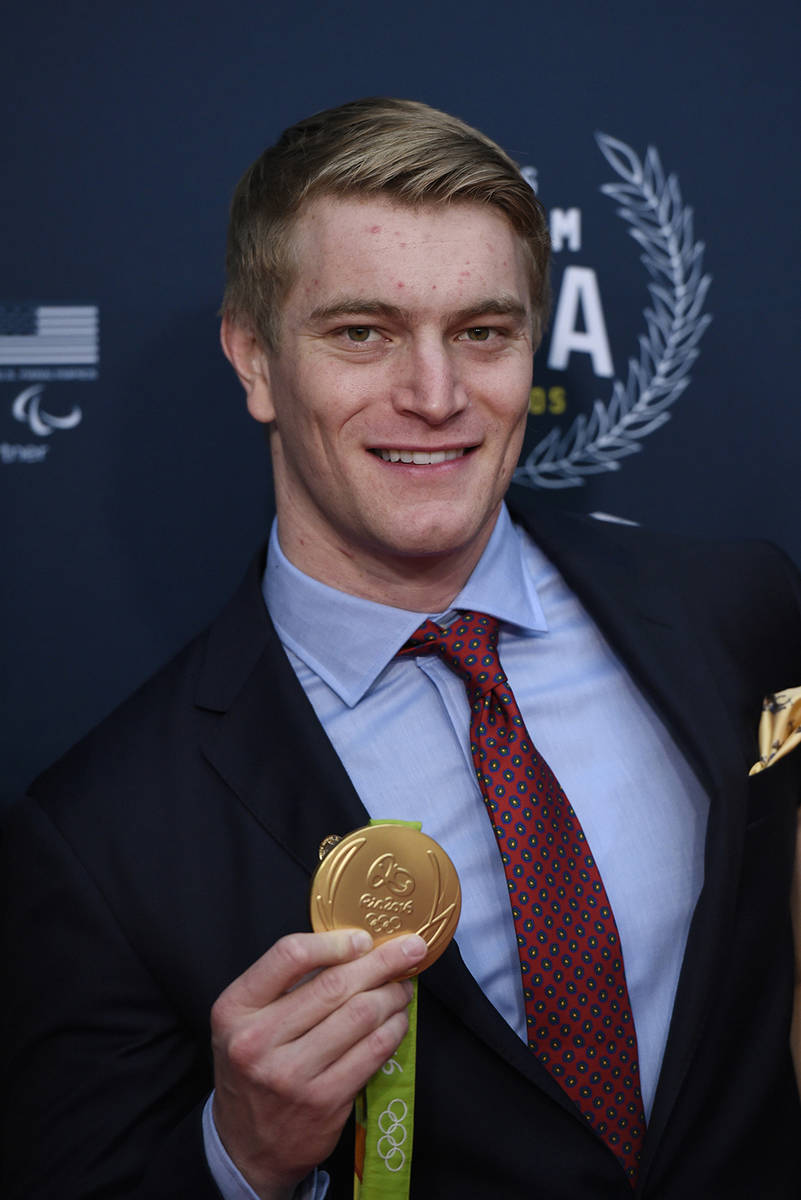 BMX cyclist Connor Fields poses on red carpet at Georgetown University in Washington on Wednesd ...