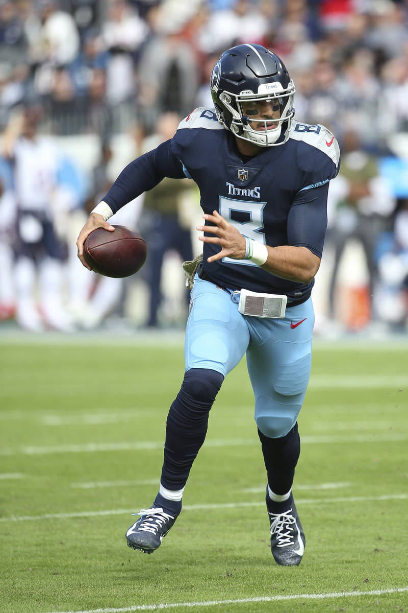 Tennessee Titans quarterback Marcus Mariota #8 during an NFL football game between the New Engl ...