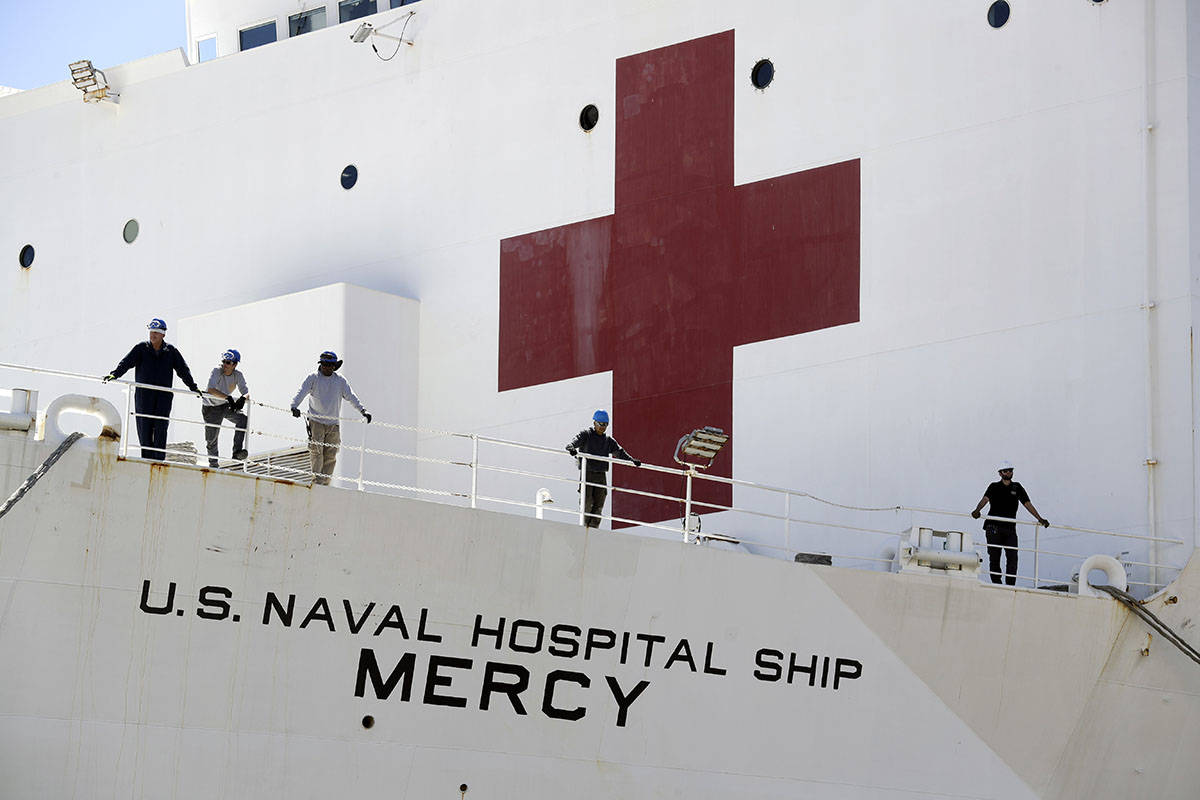 The USNS Mercy hospital ship sits at dock before its departure Monday, March 23, 2020, in San D ...