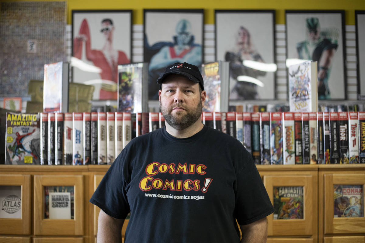 Brian Fudge, owner of Cosmic Comics, in his store on Tuesday, March 24, 2020, in Las Vegas. The ...