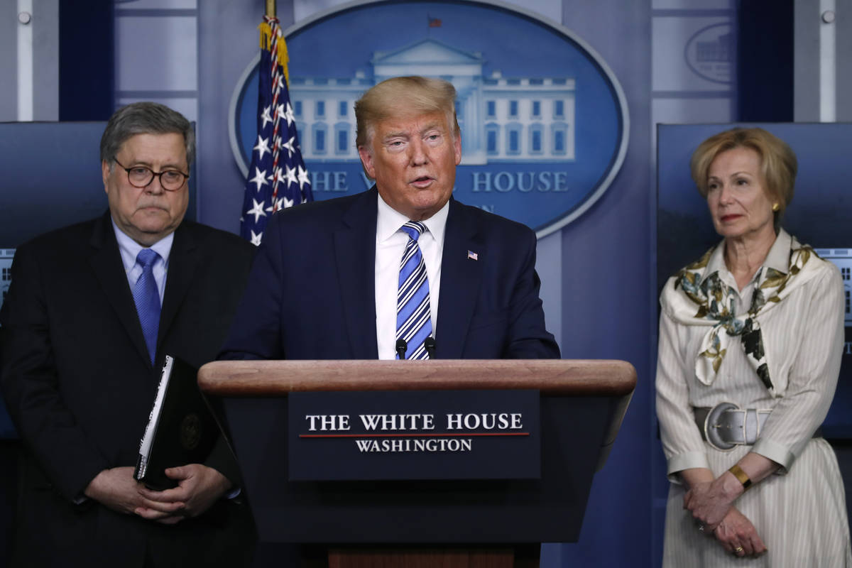 President Donald Trump speaks about the coronavirus in the James Brady Briefing Room, Monday, M ...