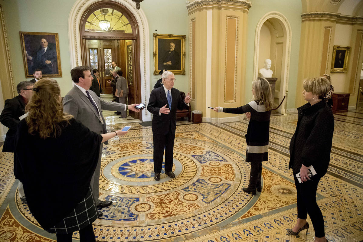 Senate Majority Leader Mitch McConnell of Ky. speaks to reporters outside the Senate chamber af ...