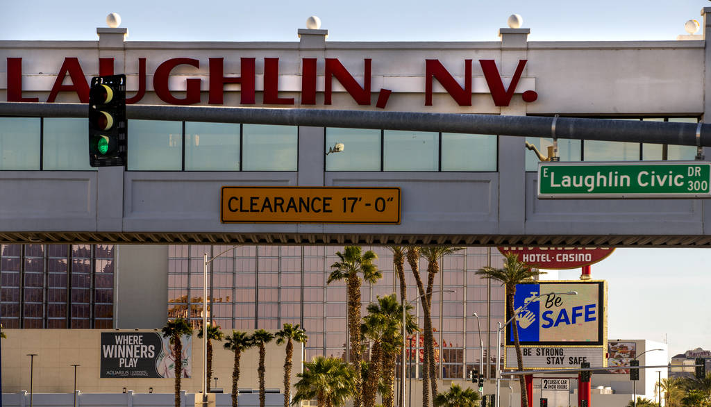 All casinos in Laughlin display messages of hope and support for those affected by the coronavi ...