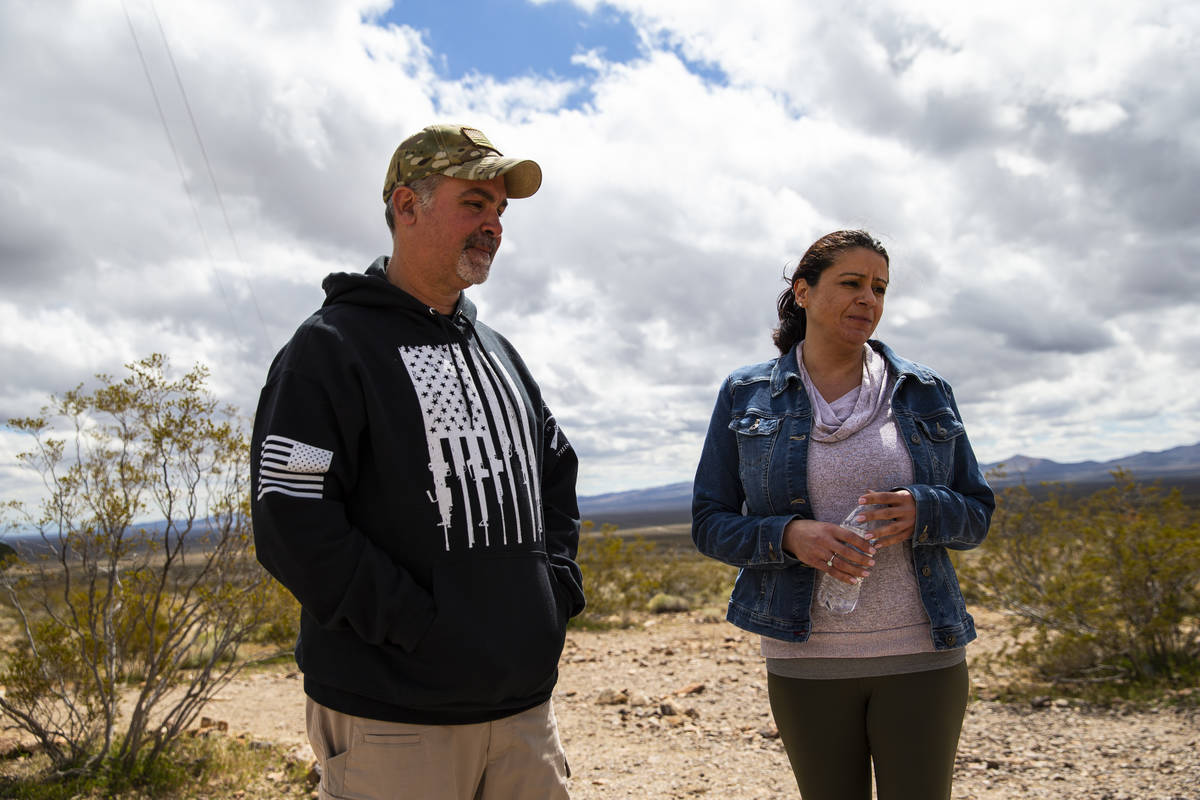 Bruce Emens, left, and Nadia Broadaway, of Henderson, visit the Goldwell Open Air Museum outsid ...