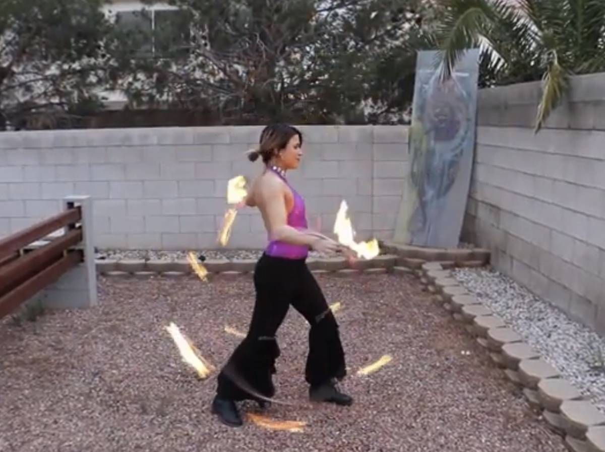 "Jen Ranalli of ""X Rocks"" performs a fire act -- in her back yard -- in an episode of ""The S ..."