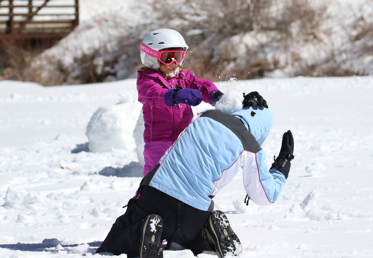Mayra Ravizza, 5, throws a snowball at her mother, Brunella, as they play at Lee Canyon on Tues ...