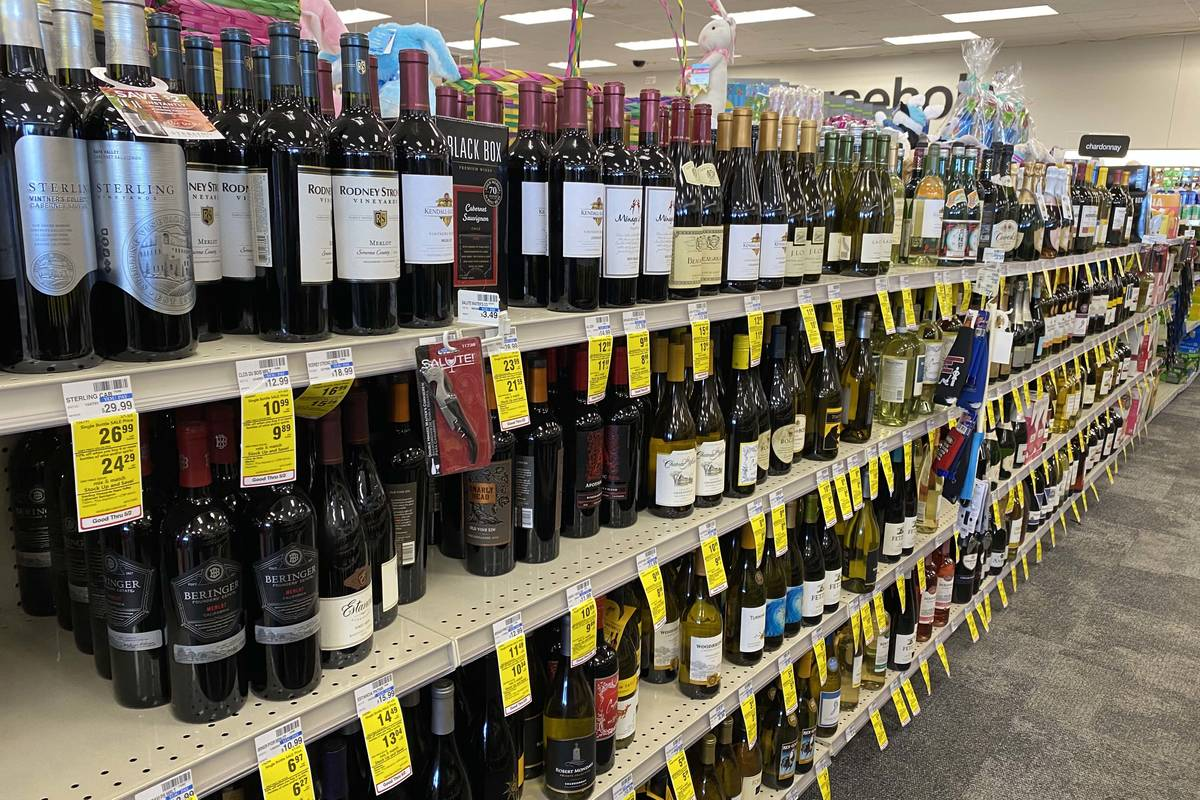 The liquor aisle at CVS Pharmacy at Russell and Fort Apache roads is well stocked on Tuesday, M ...