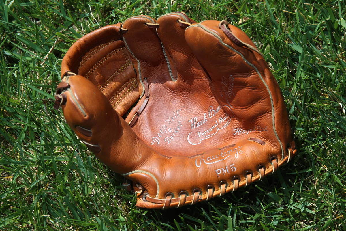 Mike Guerra's Hank Bauer model glove at his Las Vegas home, Tuesday, March 24, 2020. Guerra is ...