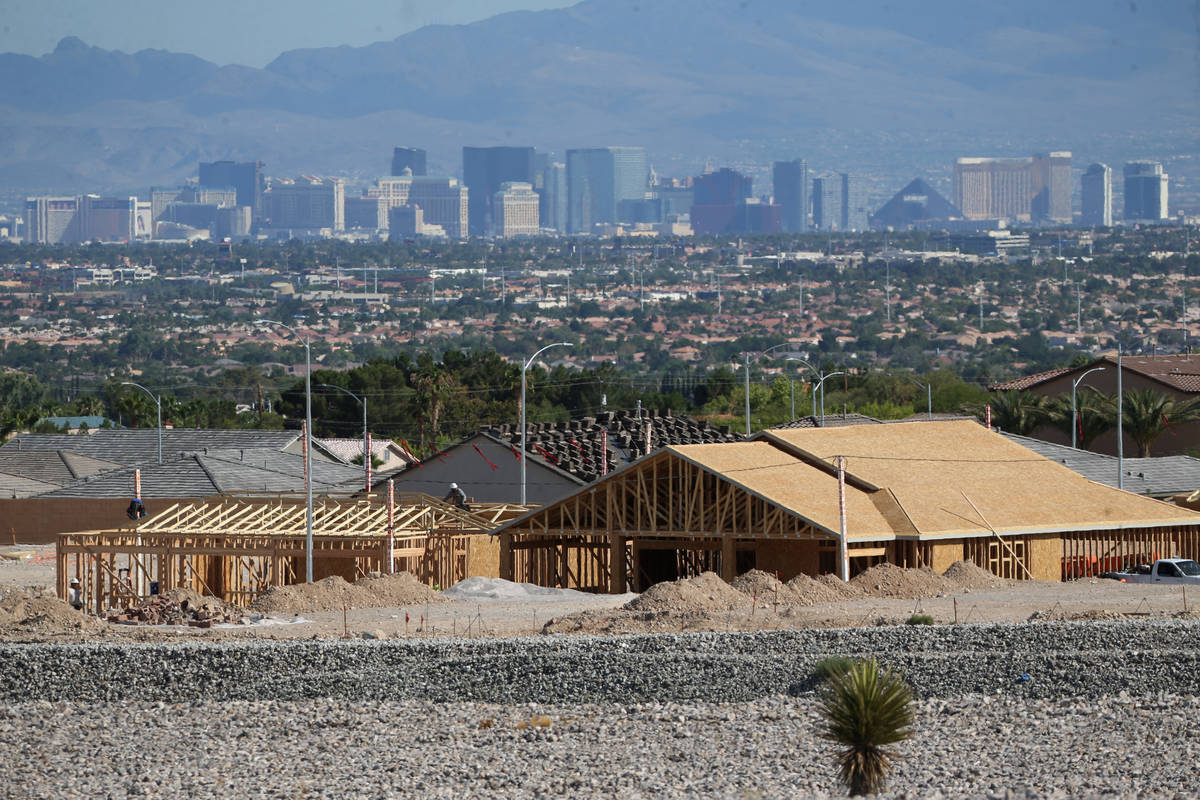 Homes are under construction near North Hualapai Way and the 215 Beltway in Las Vegas on Tuesda ...