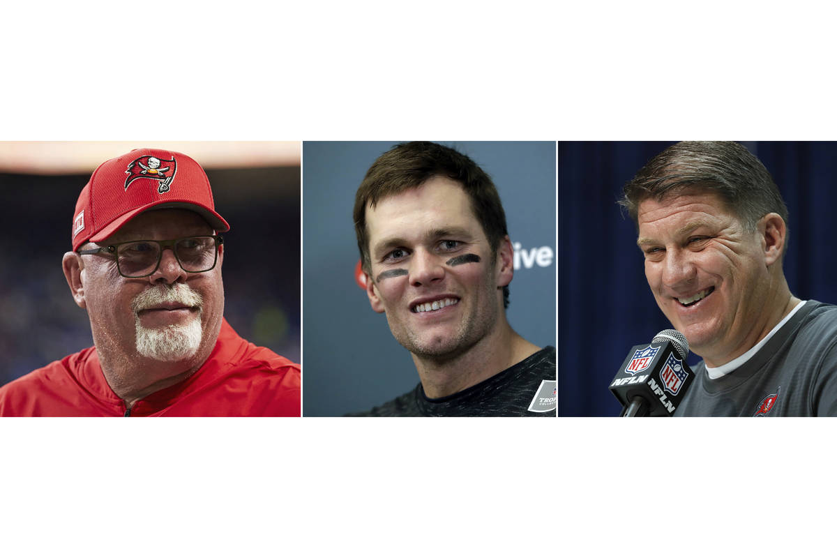FILE - From left are file photos showing Bruce Arians, Tom Brady and Jason Licht. The Tampa Bay ...