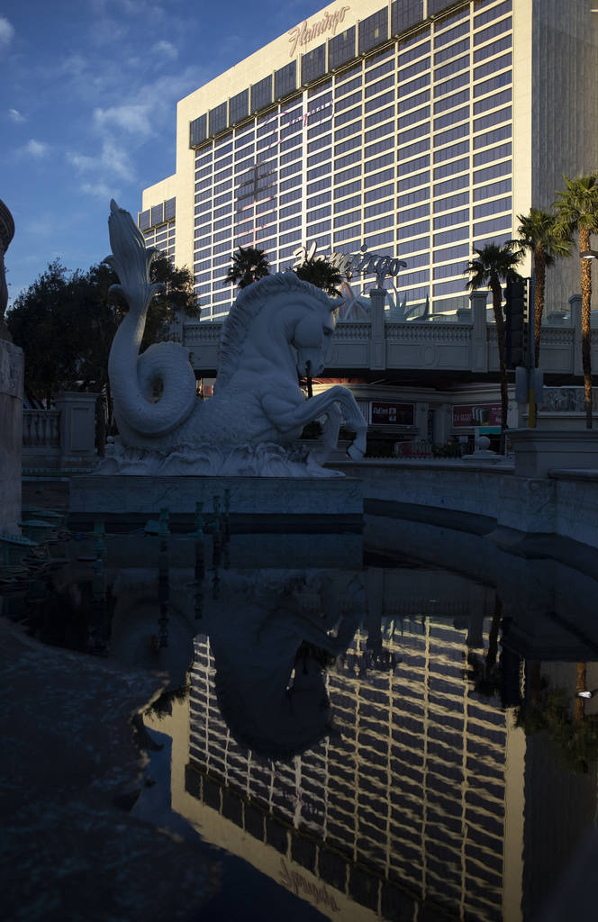 Flamingo reflects in the nearly empty fountain in front of Caesar's Palace on Tuesday, March 24 ...