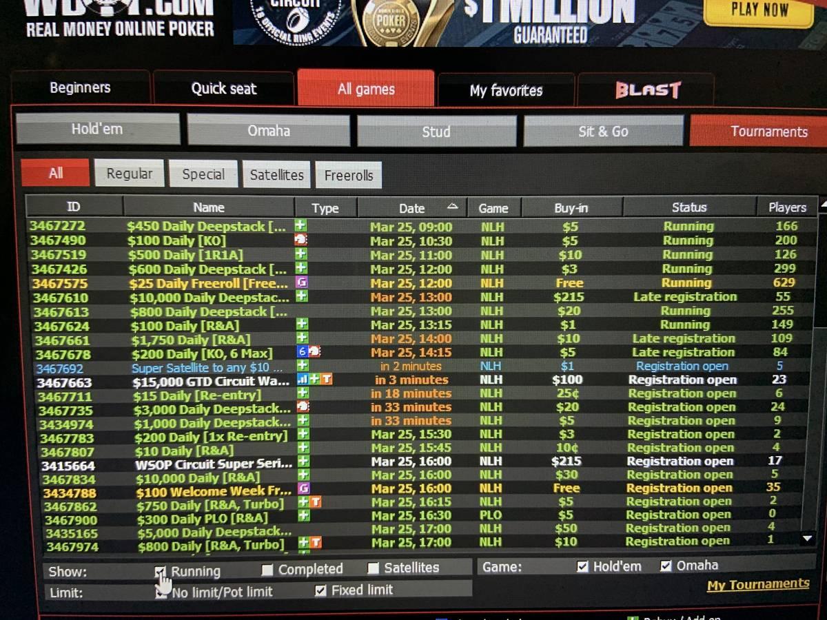The lobby on WSOP.com shows several tournaments running Wednesday. (Jim Barnes/Las Vegas Review ...