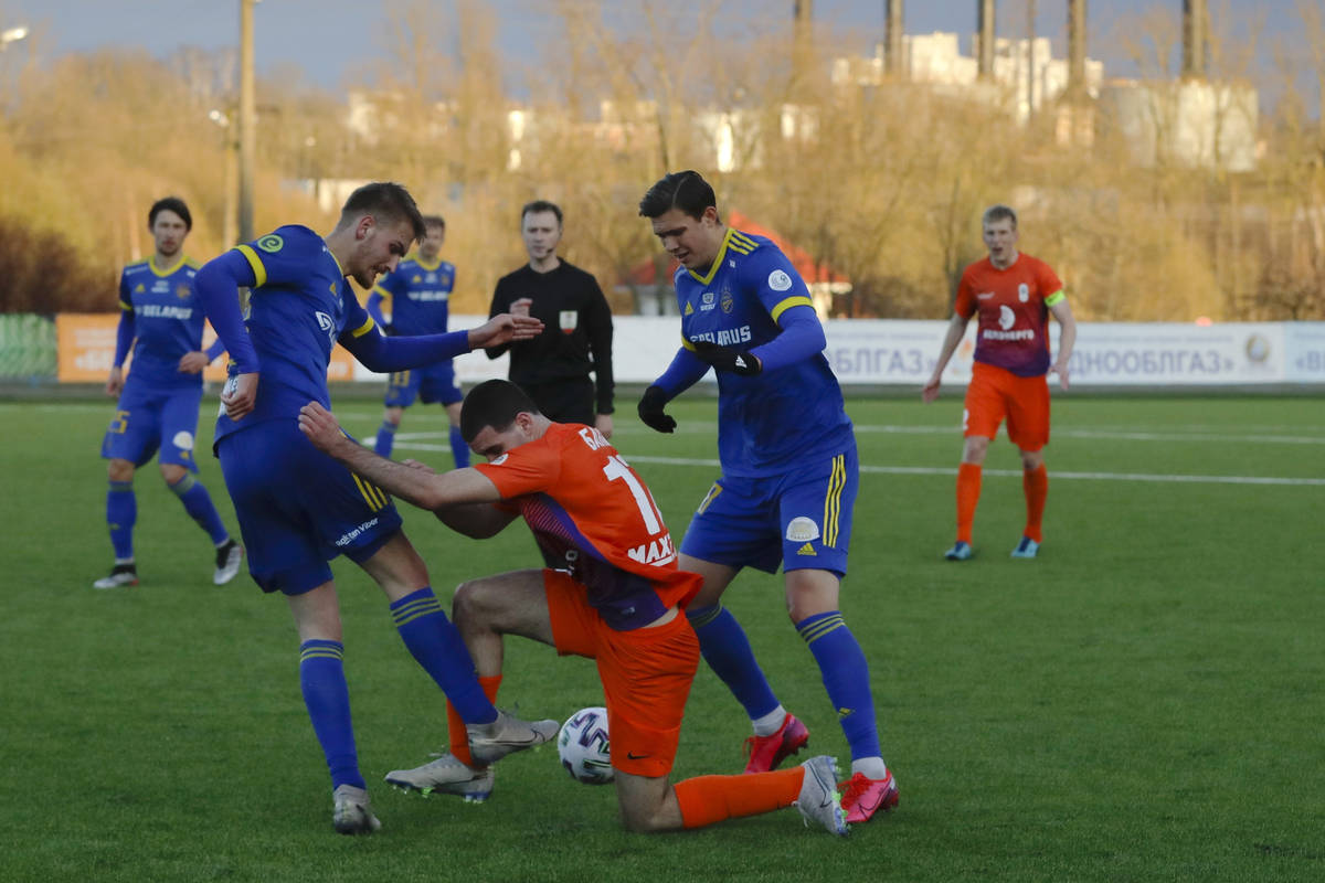 In this photo taken on Thursday, March 19, 2020, players are in action during the Belarus Champ ...