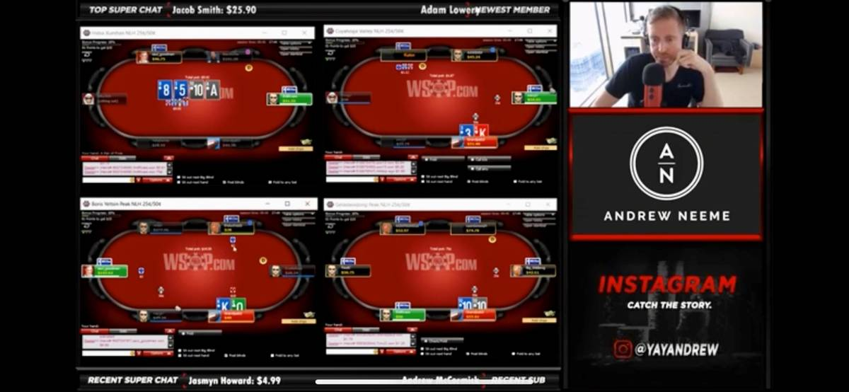 Professional poker player Andrew Neeme live-streams a recent online poker session. (YouTube)