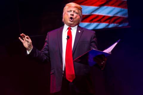 "John Di Domenico performs as President Donald Trump during a dress rehearsal of ""Ester Gol ..."