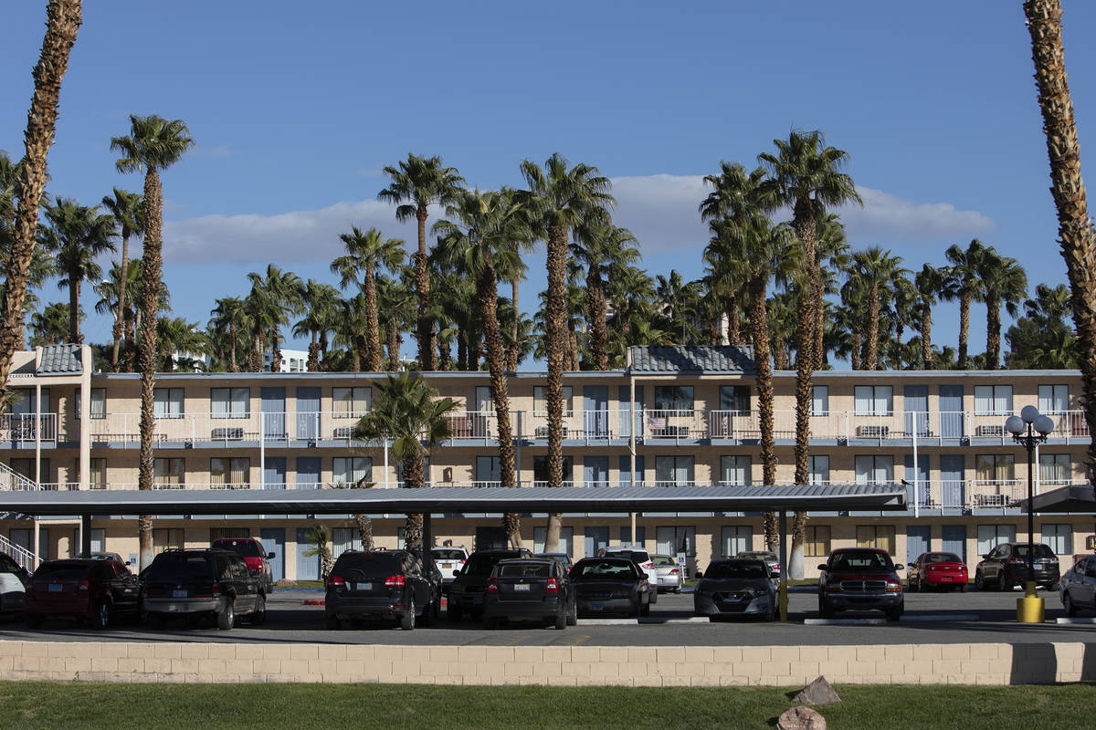 The exterior of the Harbor Island Apartments on Thursday, March 26, 2020, in Las Vegas. (Ellen ...