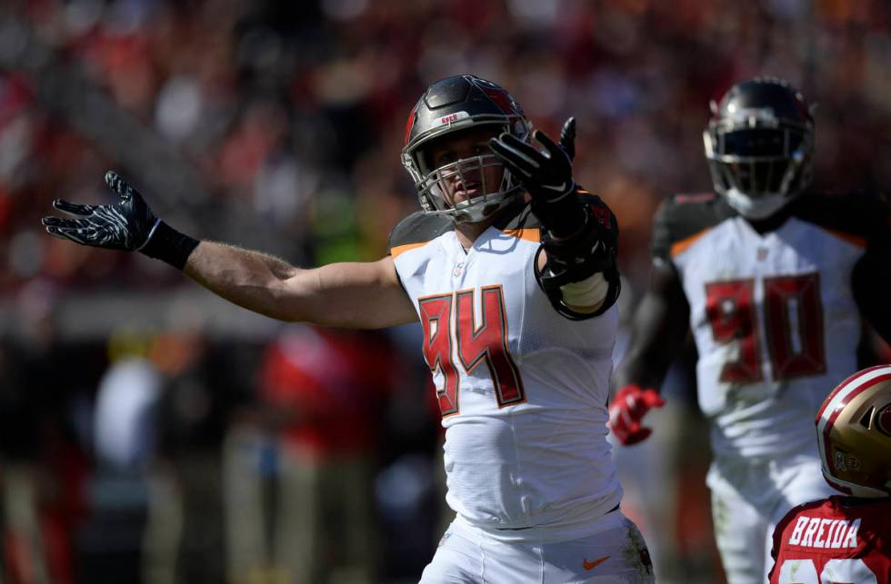 Tampa Bay Buccaneers defensive end Carl Nassib (94) after stopping San Francisco 49ers running ...