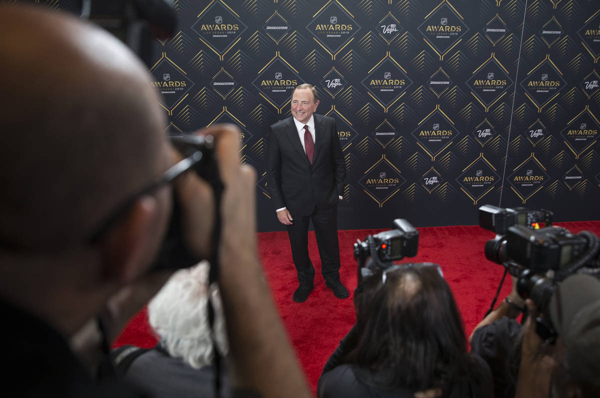 NHL commissioner Gary Bettman walks the red carpet before the start of the NHL Awards on Wednes ...