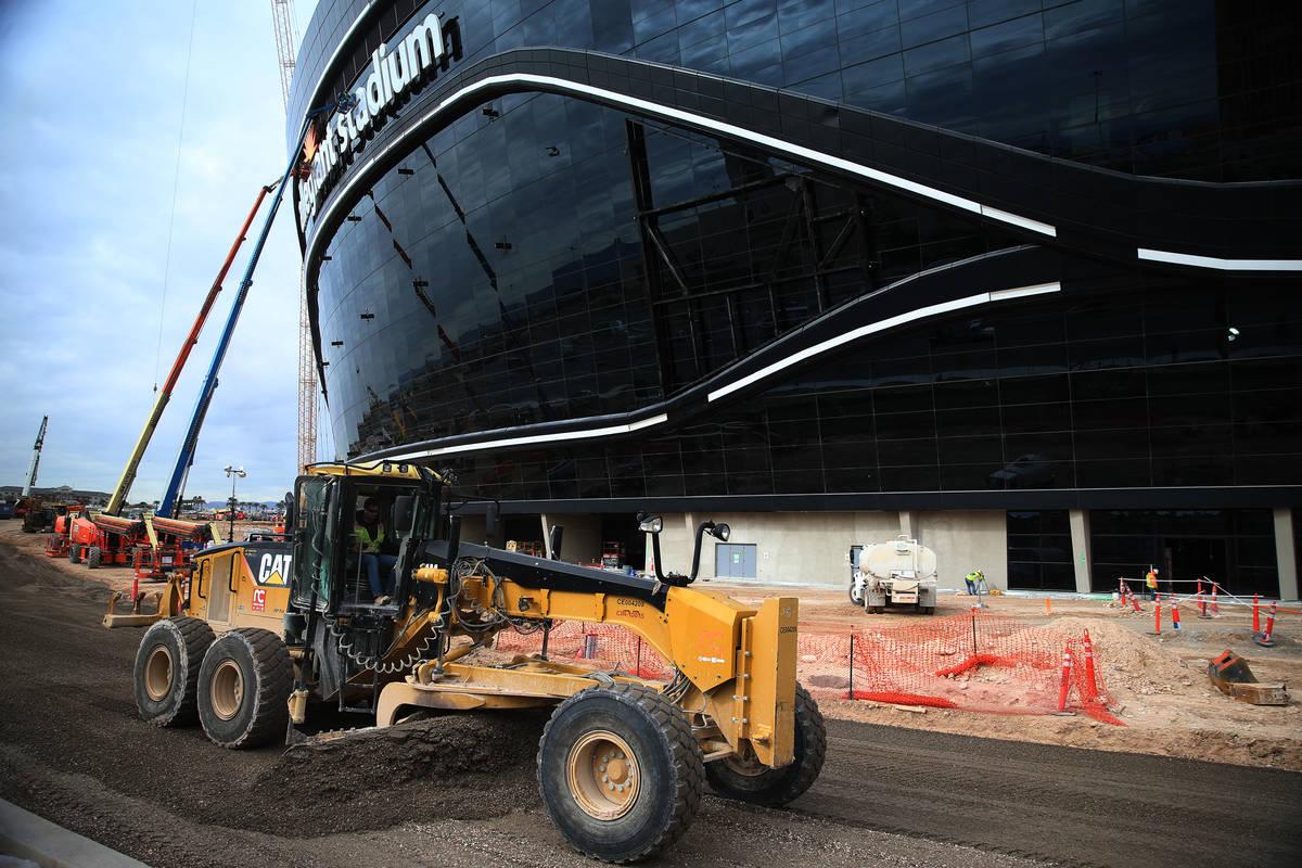 The Raiders Allegiant Stadium construction site in Las Vegas, Wednesday, March 18, 2020. (Erik ...