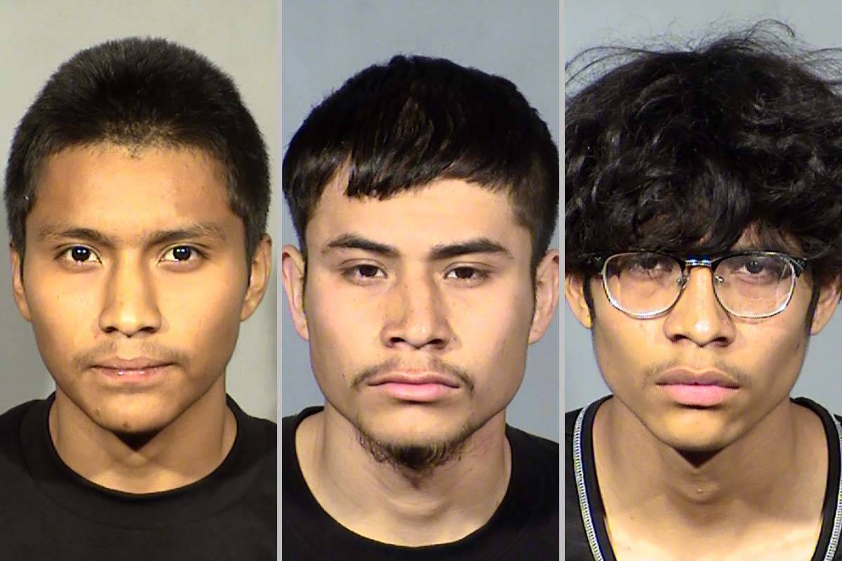 Steven Arenas, left, Hugo Martinez Lopez and Eduardo Martinez (Las Vegas Metropolitan Police De ...