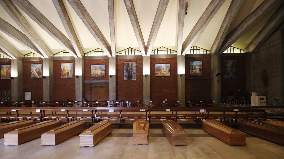 Coffins are lined up on the floor in the San Giuseppe church in Seriate, one of the areas worst ...