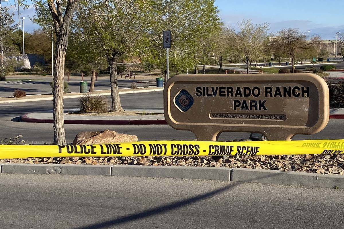 Las Vegas homicide detectives were investigating report of a body at Silverado Ranch Park on Th ...