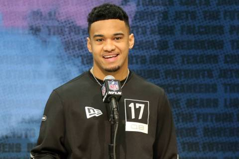 Alabama quarterback Tua Tagovailoa speaks at the NFL scouting combine at the Indianapolis Conve ...