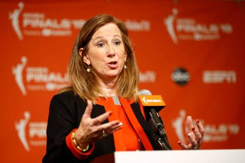 WNBA Commissioner Cathy Engelbert speaks at a news conference before Game 1 of basketball's WNB ...
