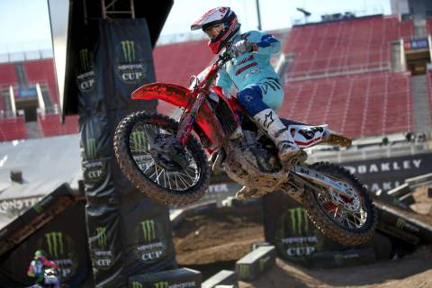 Supercross riders, including Vince Friese (64) of Cape Girardeau, Mo., make a test run at Sam B ...
