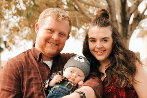 An undated photo of Cody and Rachael Anderson with their 9-month-old son, Caleb, who was tested ...