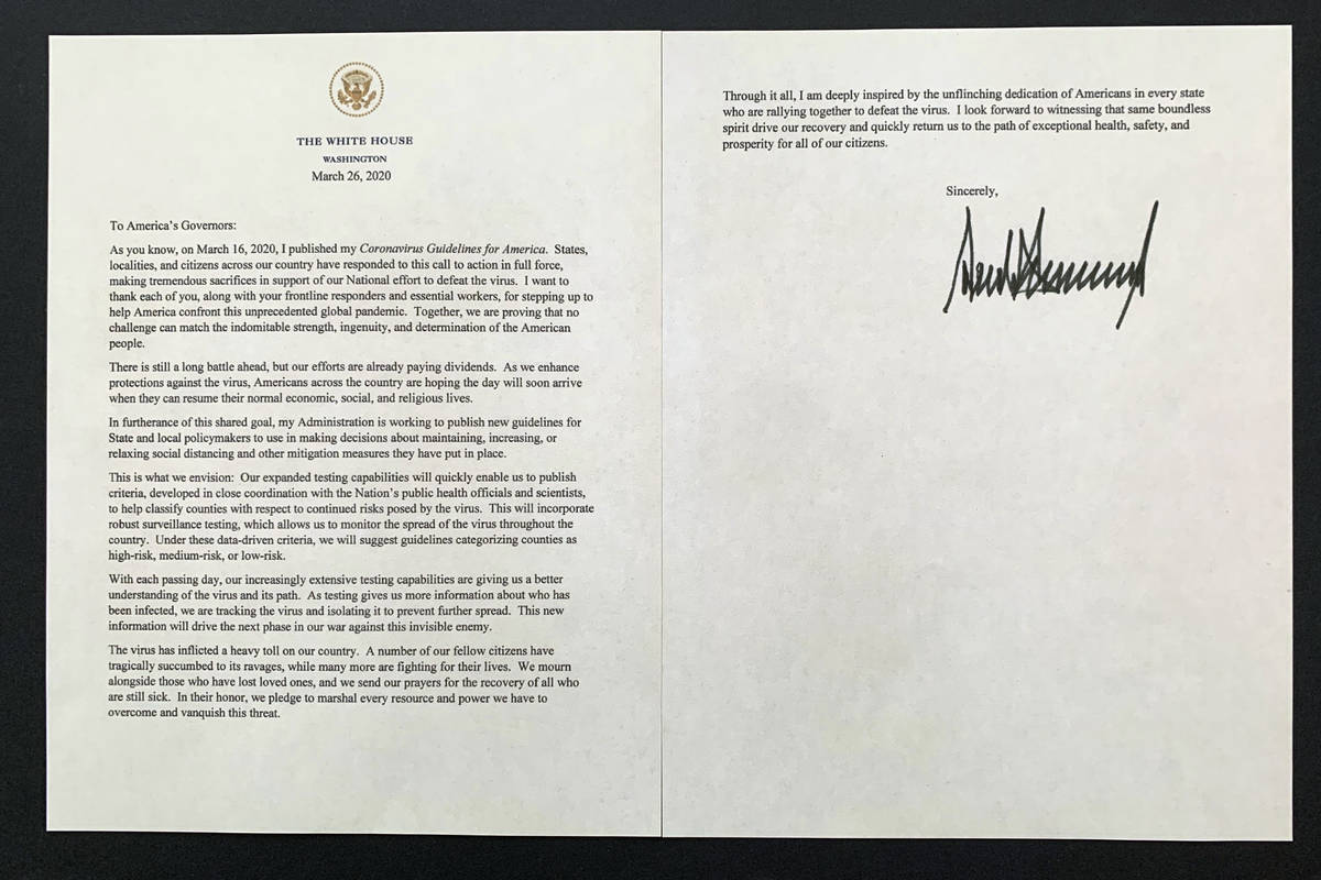 A letter from President Donald Trump to the nation's governors is photographed Thursday, March ...
