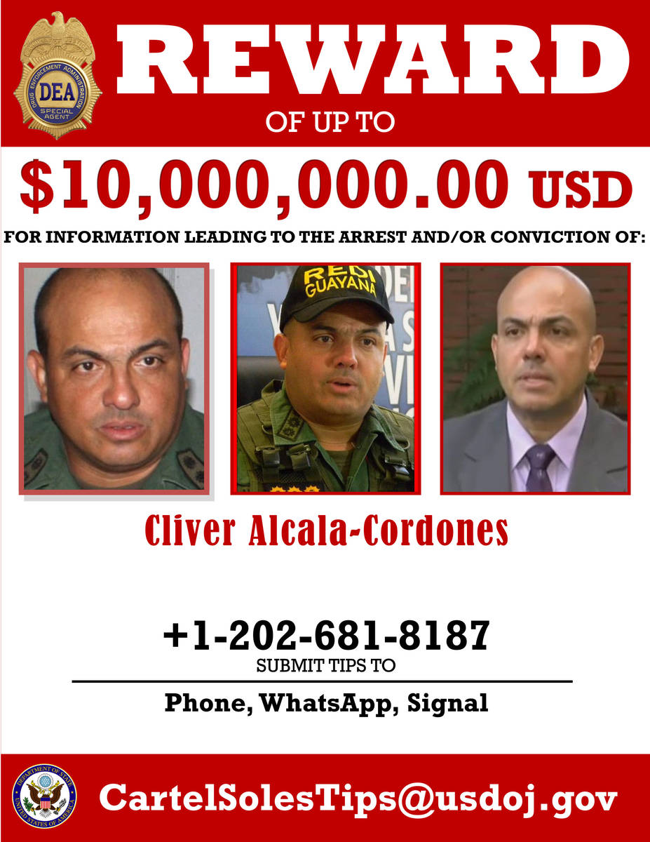 This image provided by the U.S. Department of Justice shows a reward poster for Cliver Alcala-C ...