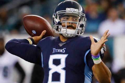 Tennessee Titans quarterback Marcus Mariota in action during a preseason NFL football game agai ...