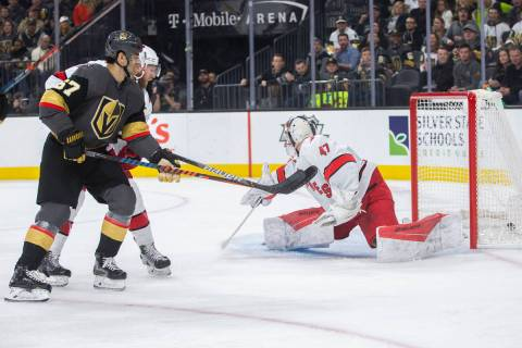 Vegas Golden Knights left wing Max Pacioretty (67) scores a first period goal against Carolina ...
