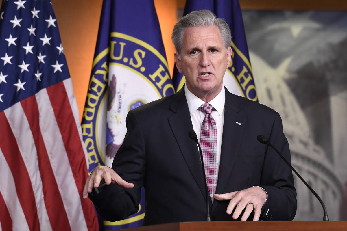 House Minority Leader Kevin McCarthy of Calif., speaks during a news conference on Capitol Hill ...