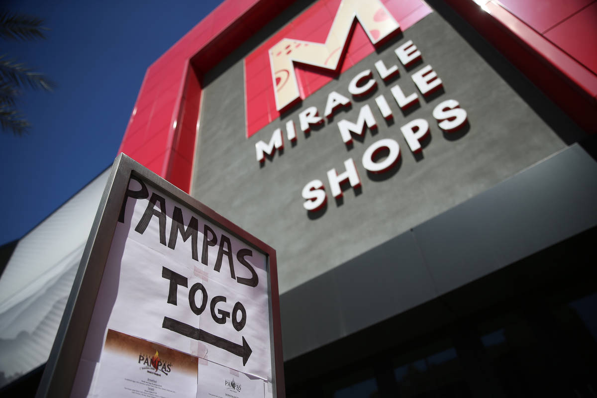 A sign for the open Pampas Las Vegas outside of the Miracle Mile Shops in Las Vegas, Thursday, ...