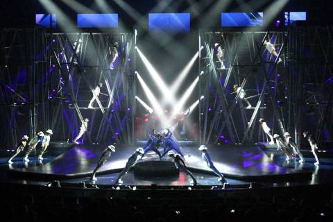 Cirque du Soleil performers debut part of the Michael Jackson One show at Mandalay Bay Resort a ...