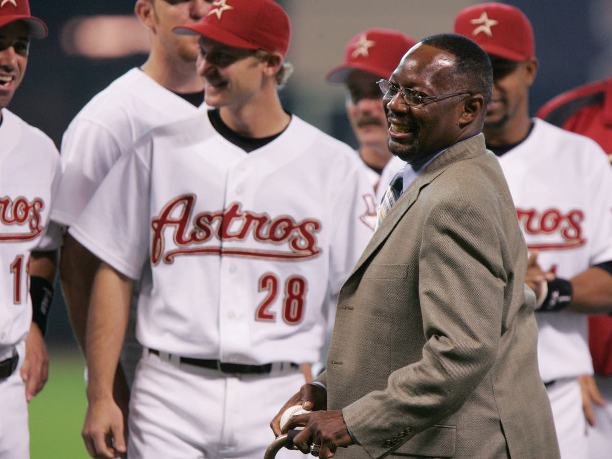 FILE - In this June 25, 2005, file photo, former Houston Astro Jimmy Wynn is joined by current ...