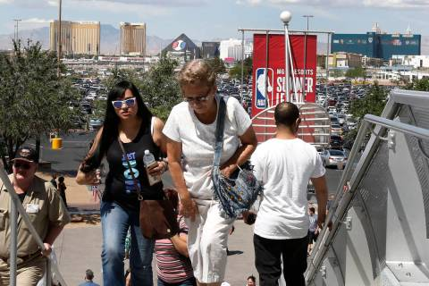 Culinary and bartender union workers arrive at the Thomas and Mack Center in Las Vegas on Tuesd ...