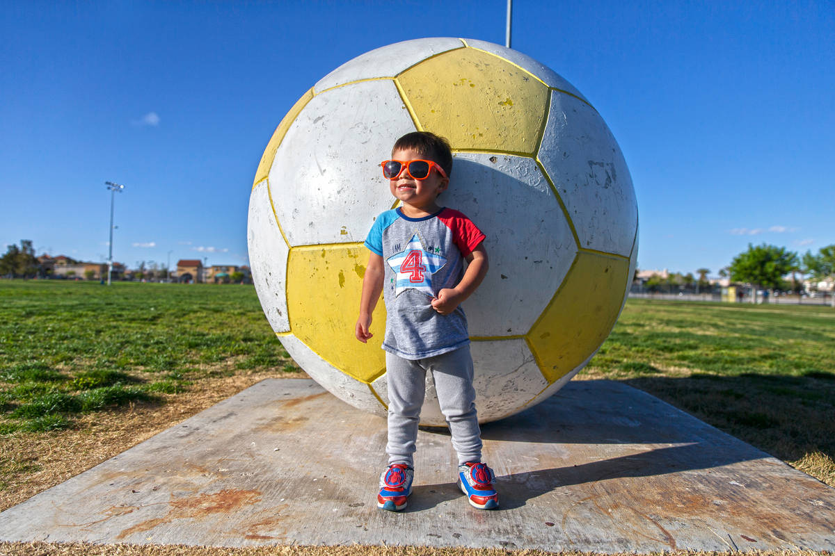 Kaeo George, 2, enjoys the open space at Desert Breeze Park on Friday, March 27, 2020, in Las V ...