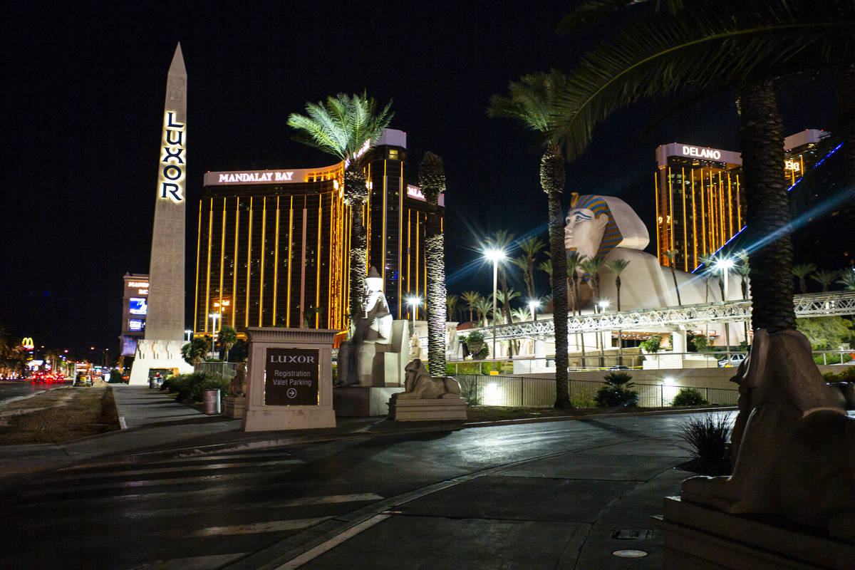 A view of the Luxor in Las Vegas on Monday, March 16, 2020. (Chase Stevens/Las Vegas Review-Jou ...