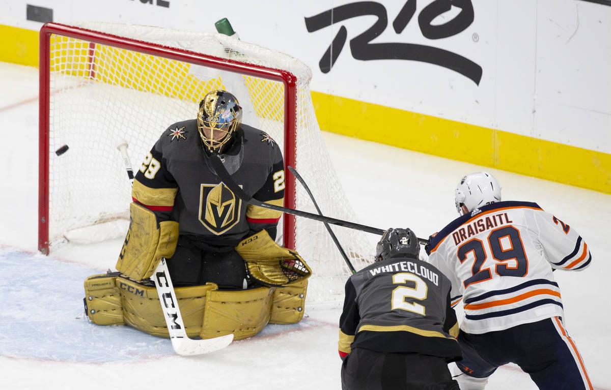 Vegas Golden Knights goaltender Marc-Andre Fleury (29) makes a save against Edmonton Oilers cen ...