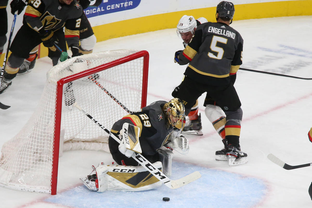 Vegas Golden Knights goaltender Marc-Andre Fleury (29) makes a save during the second period of ...