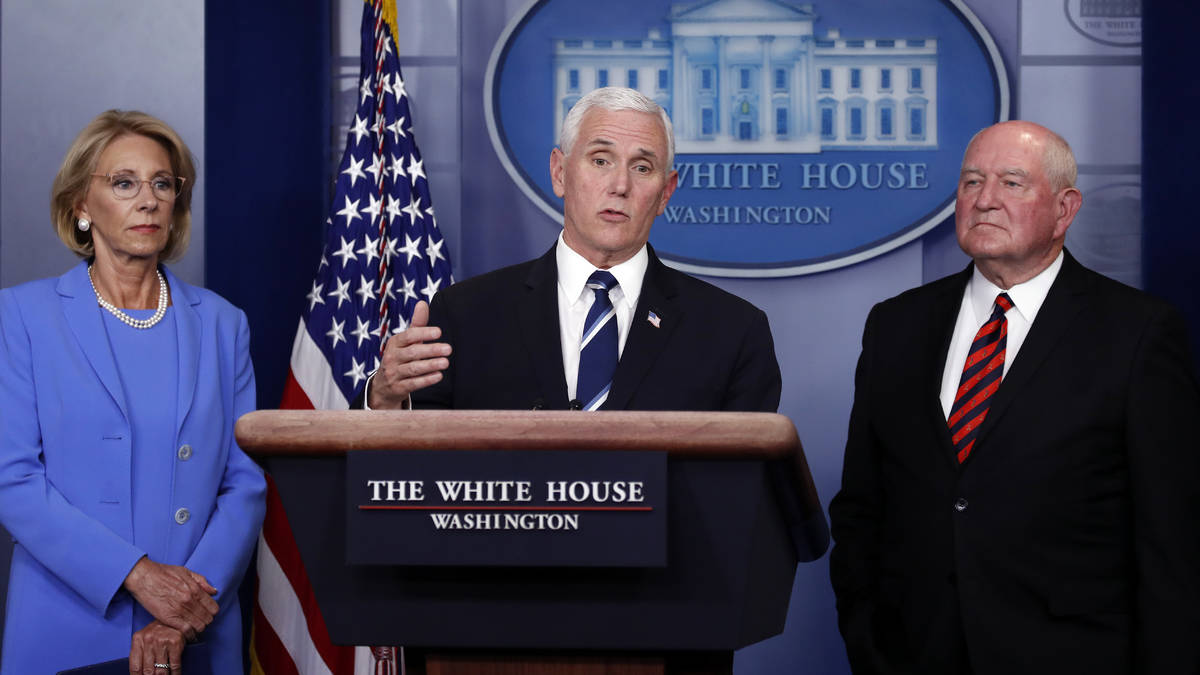 Vice President Mike Pence speaks about the coronavirus in the James Brady Press Briefing Room, ...