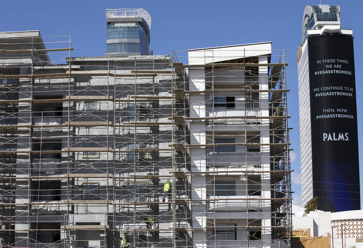 Palms is behind a construction site on Friday, March 27, 2020, in Las Vegas. (Ellen Schmidt/Las ...