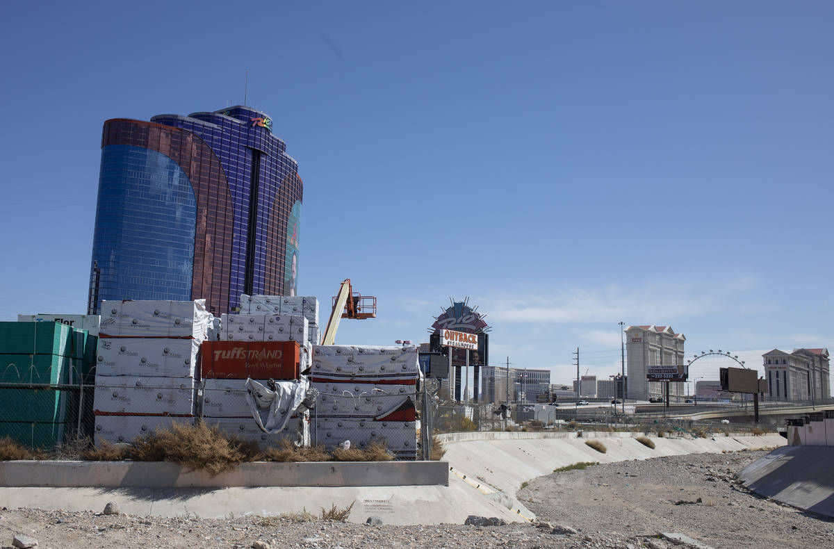 The Rio and a section of the Strip is behind a construction site on Friday, March 27, 2020, in ...