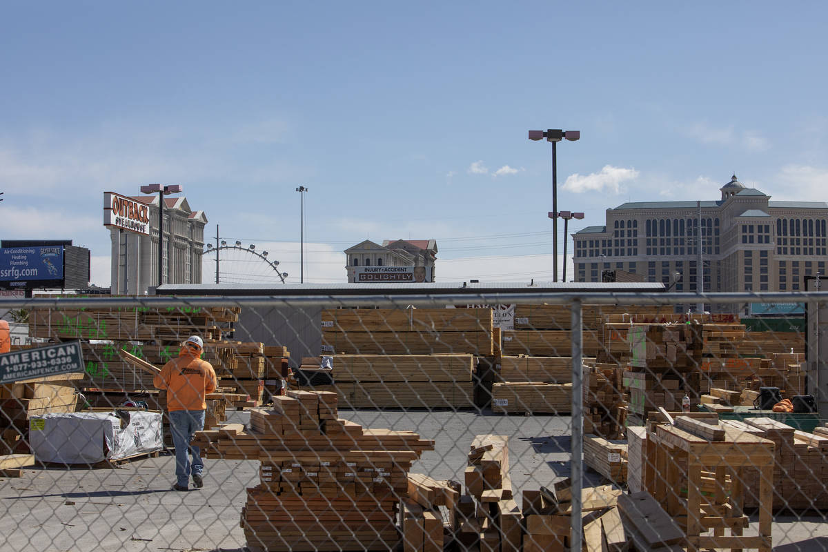 The Strip is in the background of a construction site next to Palms on Friday, March 27, 2020, ...