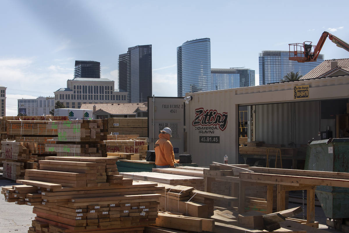 The Strip is in the background of a construction site on Friday, March 27, 2020, in Las Vegas. ...