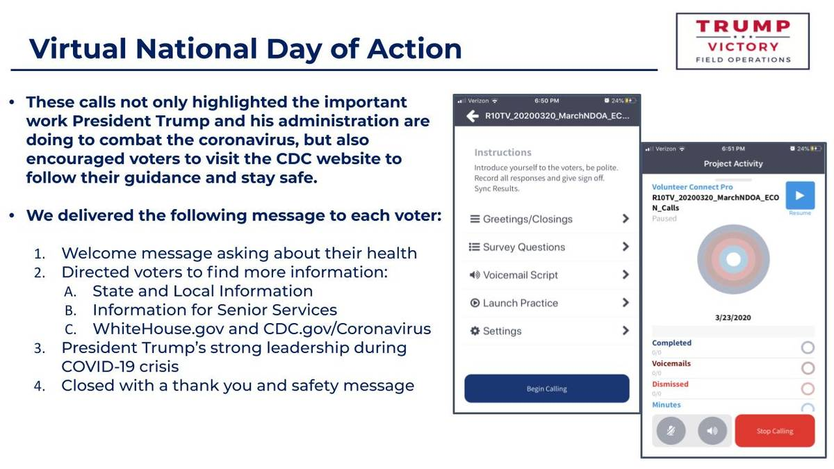 A Google Slide showing instructions for volunteers making calls to voters for President Trump's ...