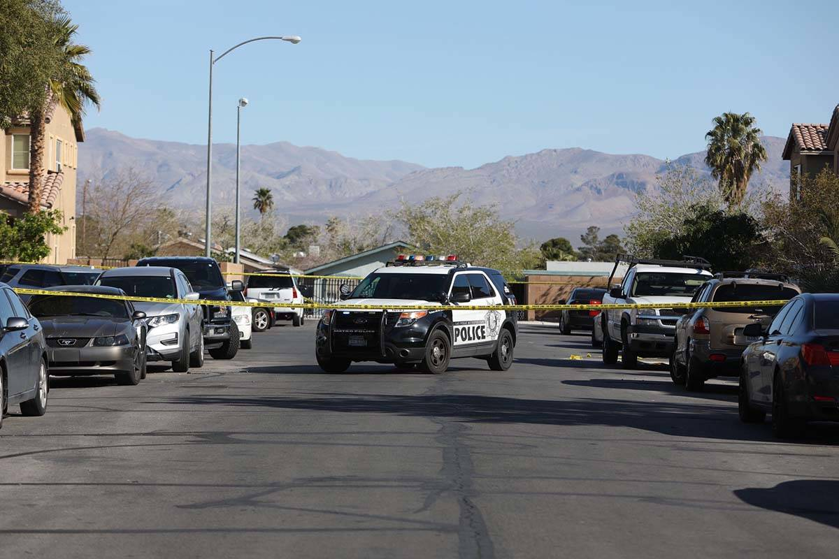 Las Vegas police investigate an apparent murder-suicide in the 3900 block of Chasing Heart Way ...